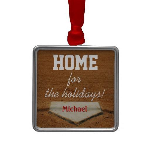 Home For The Holidays Baseball Homeplate Christmas Christmas Tree Ornament