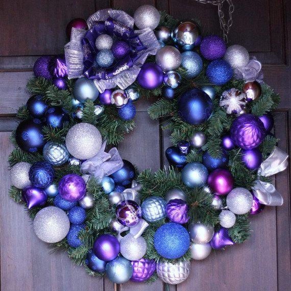 Purple Blue And Silver Dream Wreath Holiday Wreath