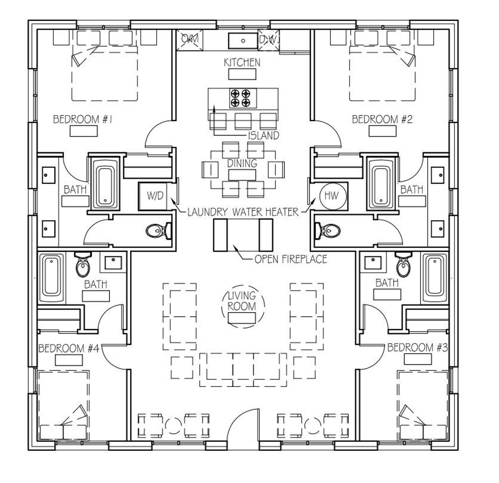 The Holiday Haven (40'x40') in 2020 | Cottage floor plans ...