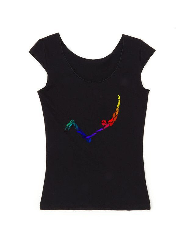 Rainbow Catch Reversible Ladies Fitted Cap Sleeve T