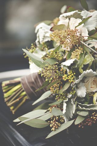 Bridal bouquet wrapped in crushed velvet ribbon   Christina Block Photography   see more on: http://burnettsboards.com/2014/04/1930s-bridal-styled-shoot/