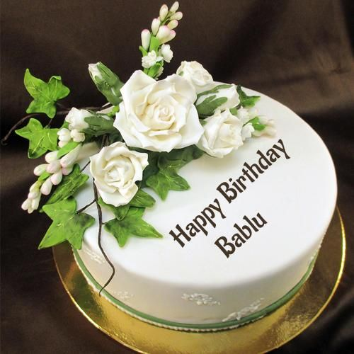 Happy Birthday Sugar Flower Awesome Cake With Name bablu Pinterest