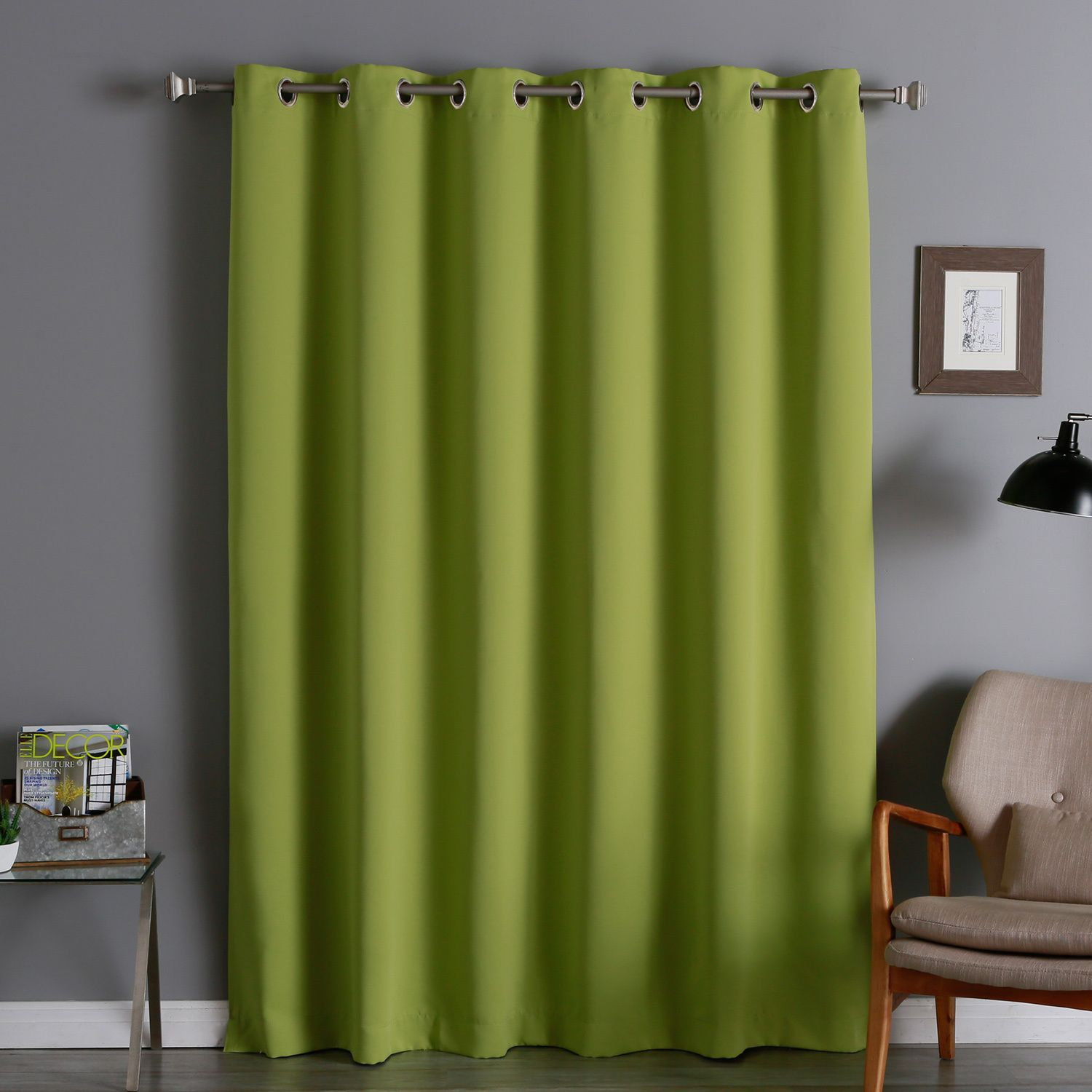 Aurora Home Extra Wide Thermal Insulated 84 Inch Blackout Curtain Panel Avocado Green Size 80 X Polyester Solid