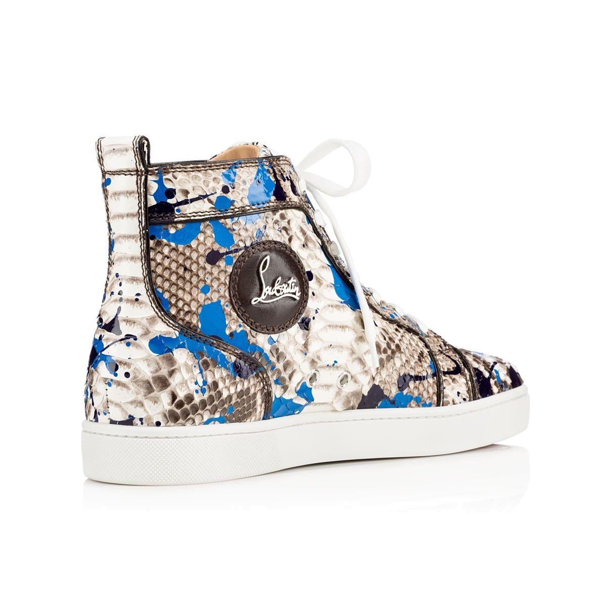 christian louboutin blue python sneakers
