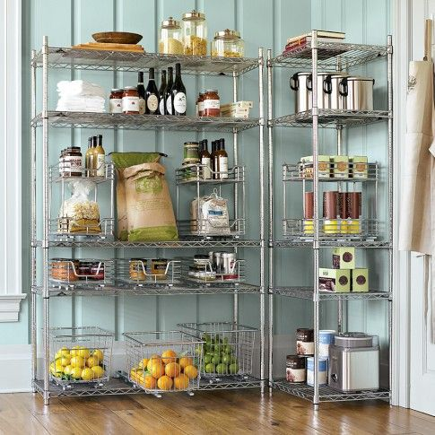 open pantry with wire shelves a little classier than our current rh pinterest com wire shelving kitchen pantry slide out wire shelves kitchen cabinets