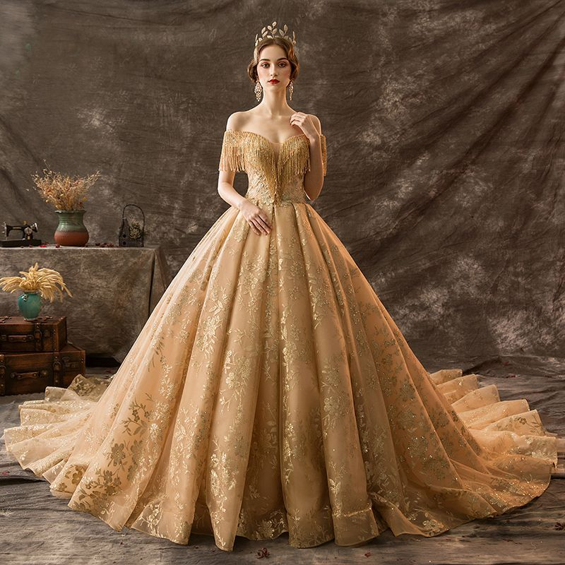 Luxury gold wedding dresses 2019 ball gown off