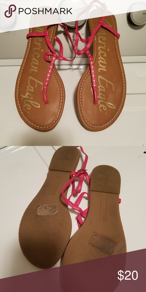 1908aaa6456 American Eagle Ankle Strap Thong Sandals Very nice brown leather ...