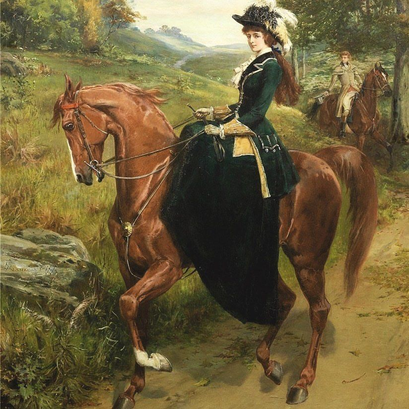 "@joyfrompaintings on Instagram: ""Elegant Young Woman on a Horse - Samuel Edmund Waller ❤️. . . . #beautifulpaintings #horsepainting #paintingsdaily #painting🎨…"""