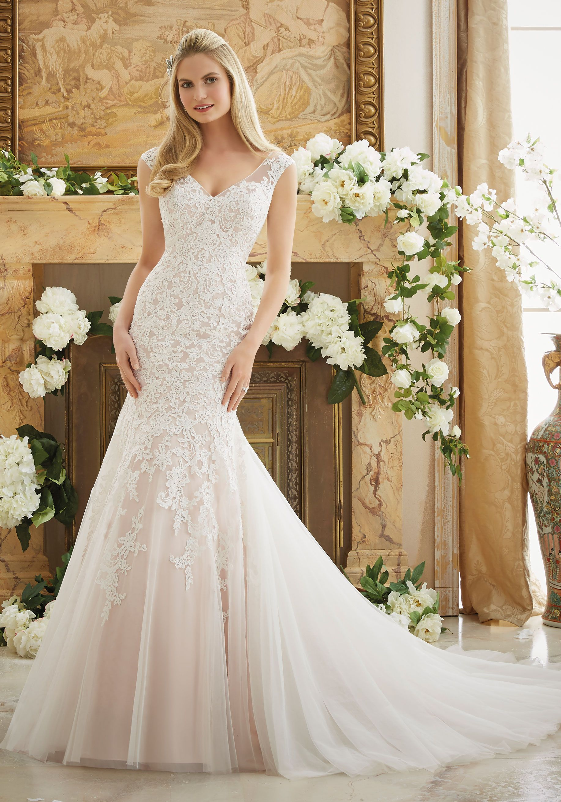 Vintage Lace Appliques on Soft Net Morilee Bridal | WD Fit and Flare ...