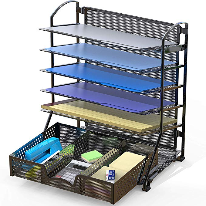Amazon Com Simplehouseware 6 Trays Desk Document File Tray Organizer With Supplies Sliding Drawer Black In 2020 Tray Organization Wood Storage Shelves Drawer Slides