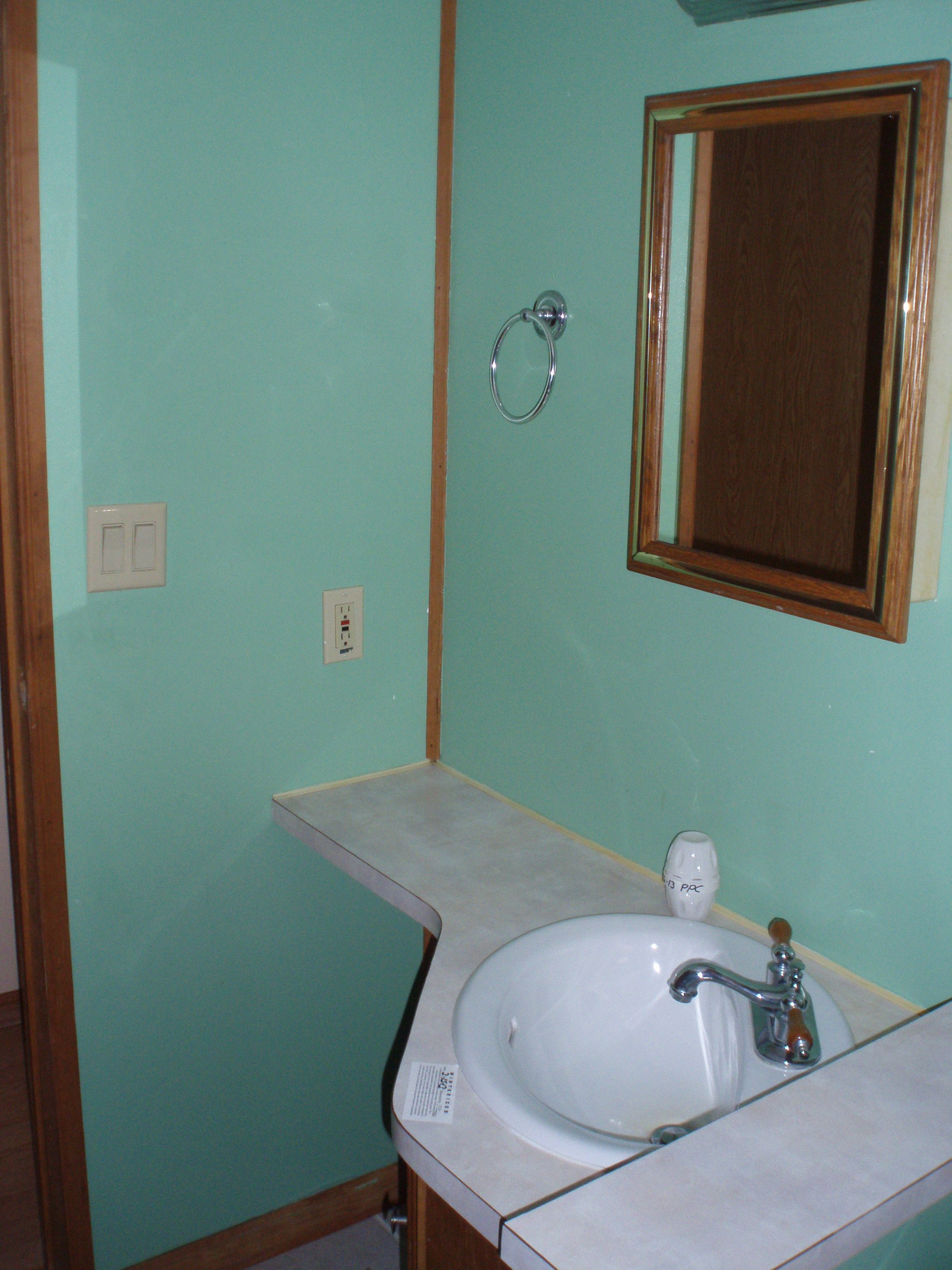 Bathroom of our new home: currently mint green walls with honey-oak ...