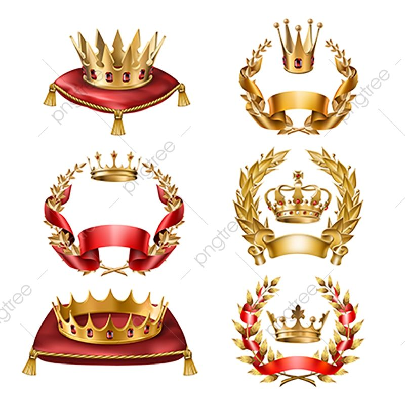 Vector Golden Crowns And Laurel Wreaths Golden Crown Isolated Png And Vector With Transparent Background For Free Download Laurel Wreath Crown Golden Crown