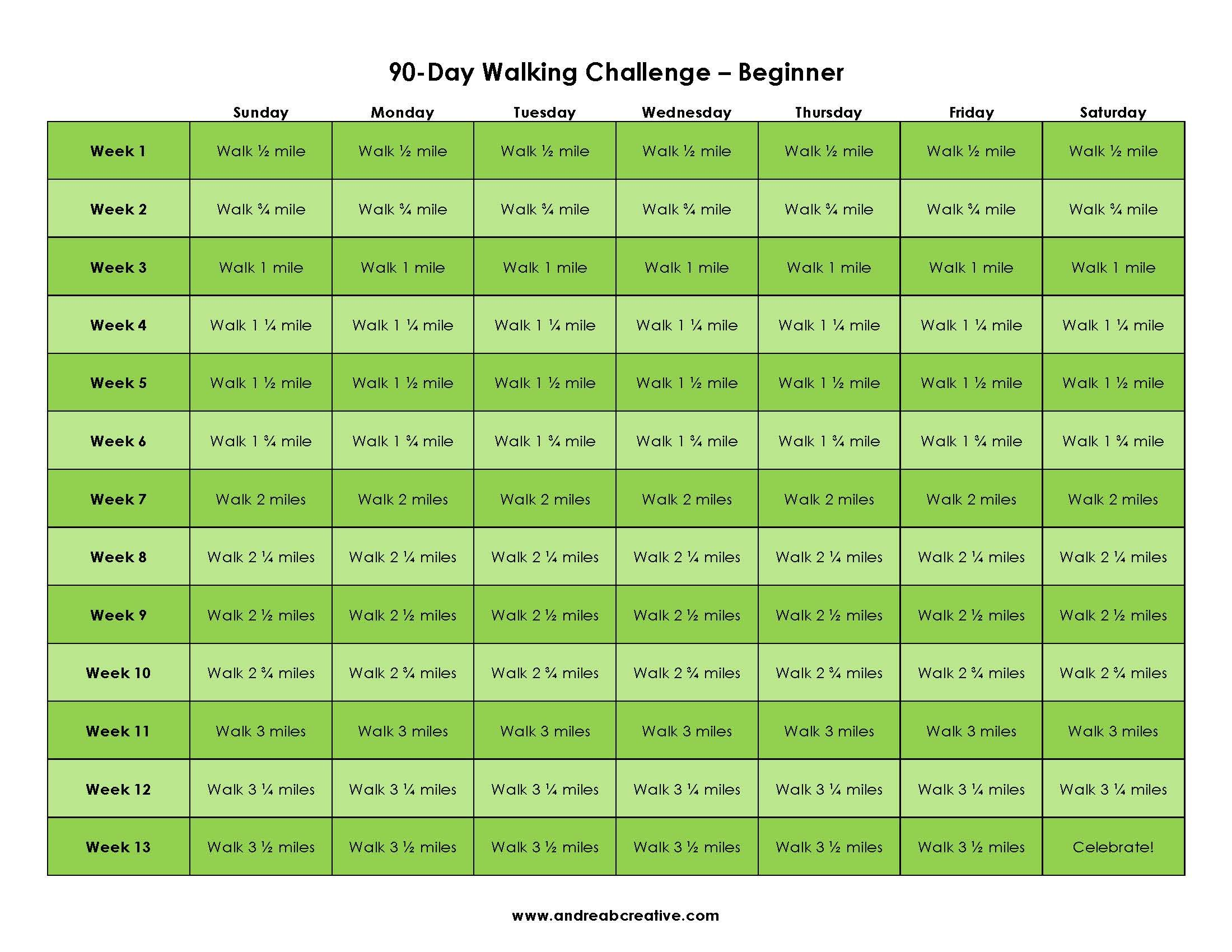 Beginner day walking challenge guide Go from couch to 5K in a