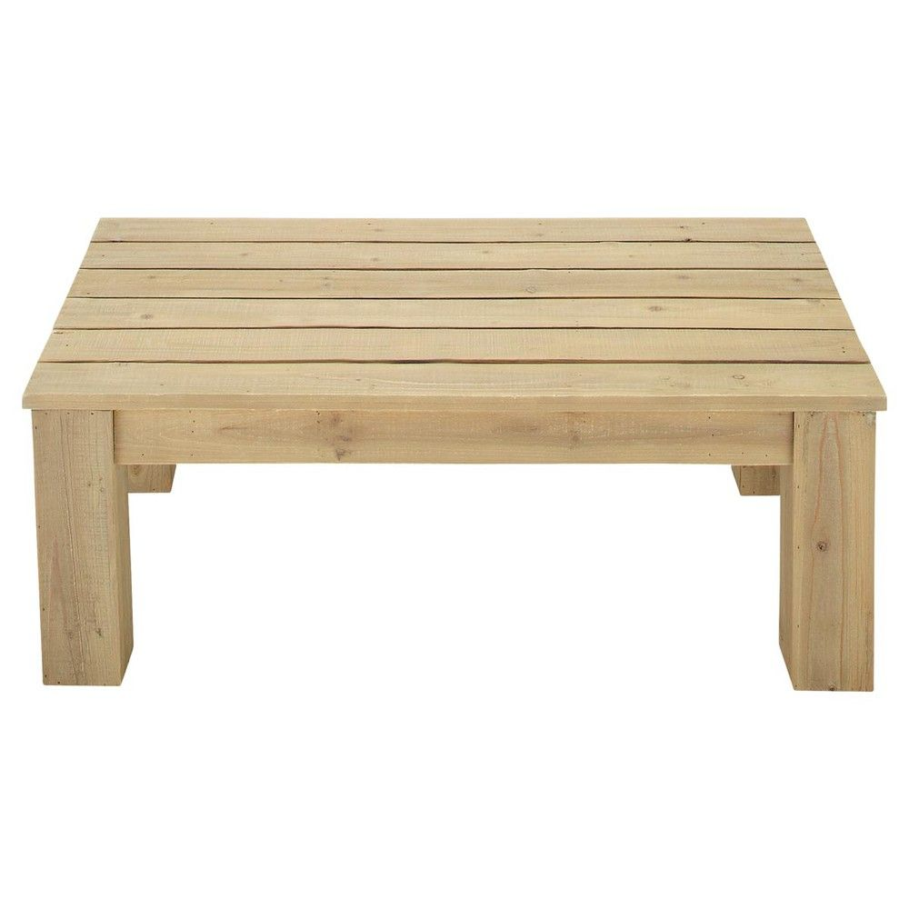 Table basse de jardin en bois L 100 cm Brehat | Table basse ...