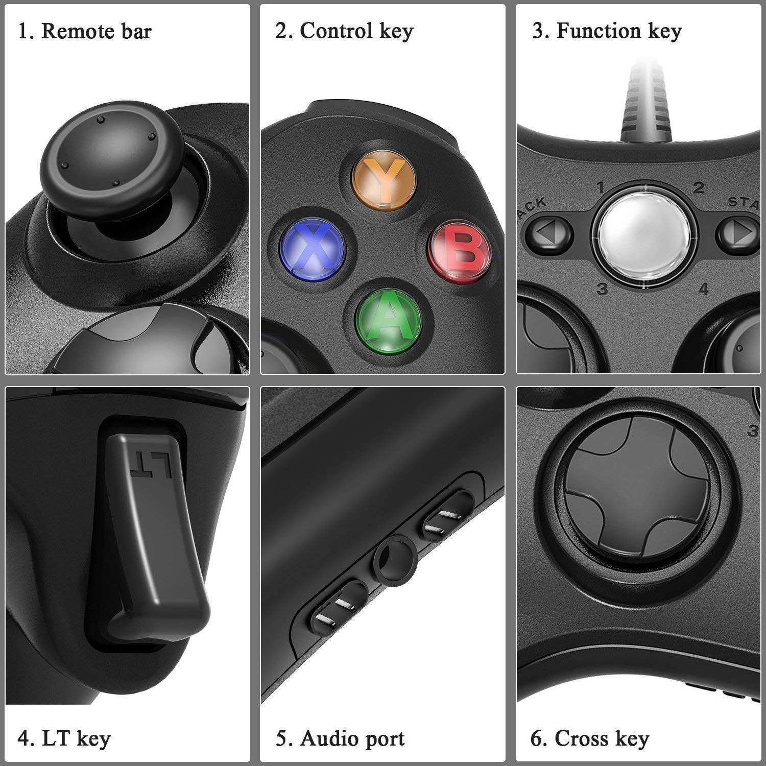 Jamswall Xbox 360 Game Controller Game Controller Gamepad Usb Wired Shoulders Buttons Improved Ergonomic Des Xbox 360 Games Wireless Controller Game Controller