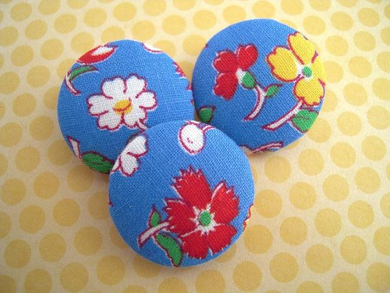 Vintage Fabric Covered Buttons Garden Flowers