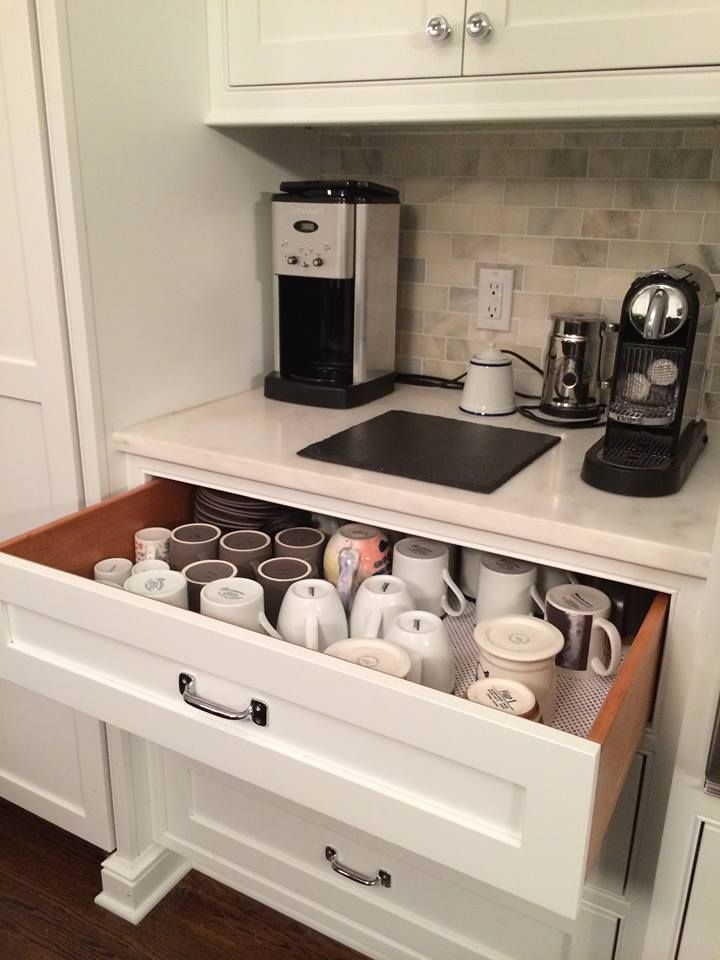 Coffee Corner #kitchens #kitchendesign #kitchendesignideas #kitchenstorage #kitchenorganization #coffee #coffeeorganization #beveragestation #wetbar #coffeebar #organization #storage #drawerorganization #kitchenpantrystorage