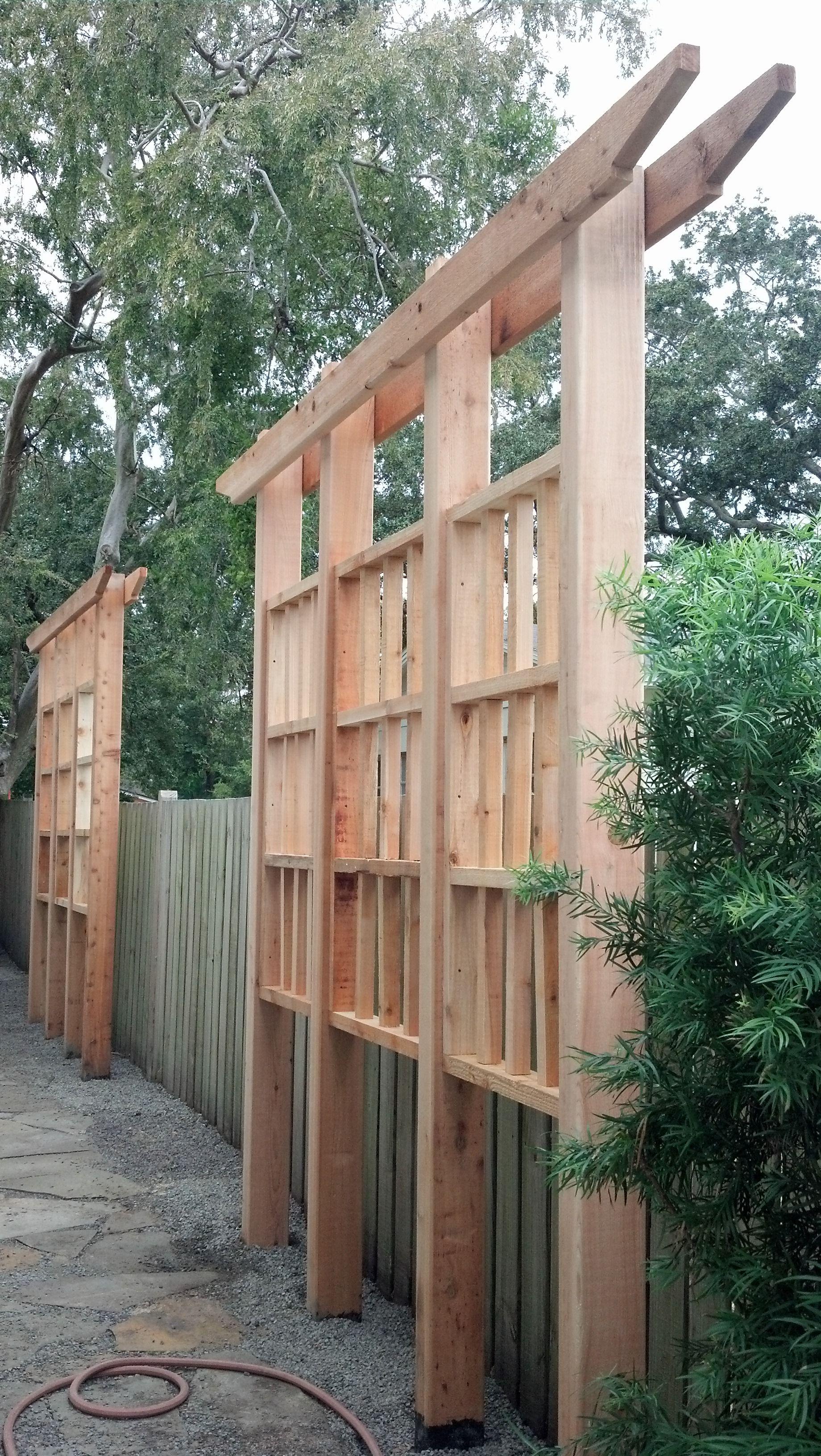 Cedar privacy trellis privacy landscaping backyard