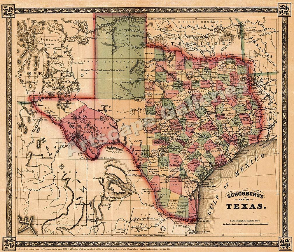 Schönbergs Map Of Texas Historic Map X Vintage The O - Map of usa for sale