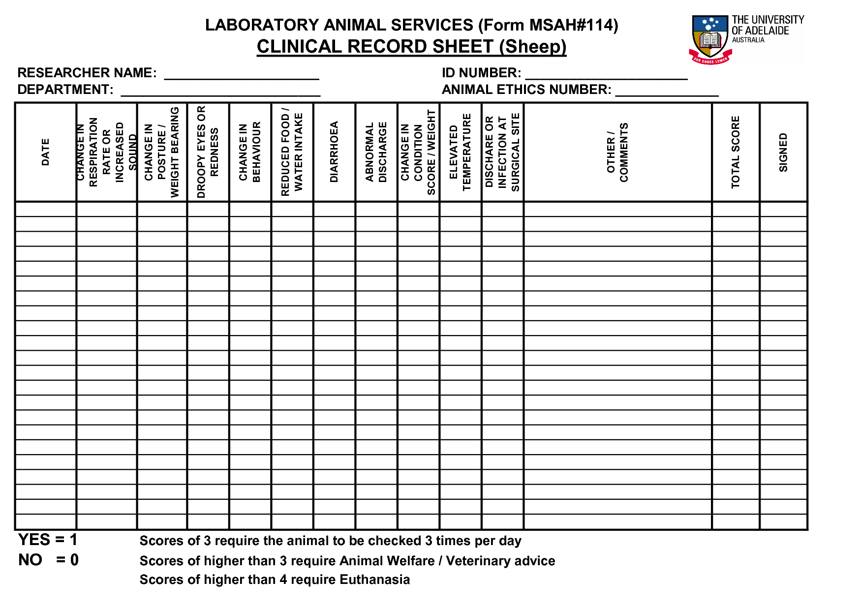 veterinary forms templates - goat weight keeping sheet clinical record sheet sheep