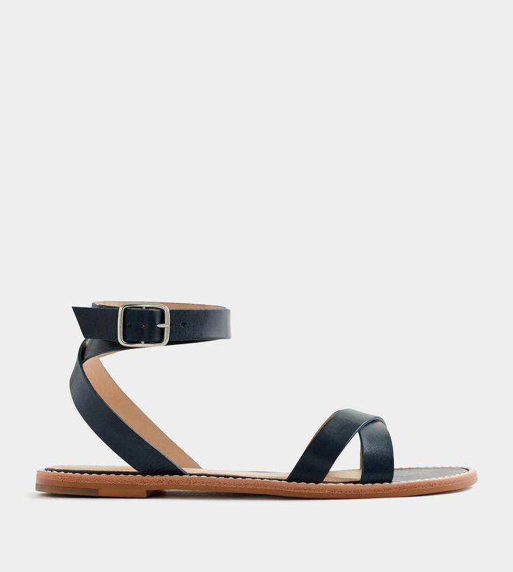 leather cross-strap   leather cross-strap flat sandals