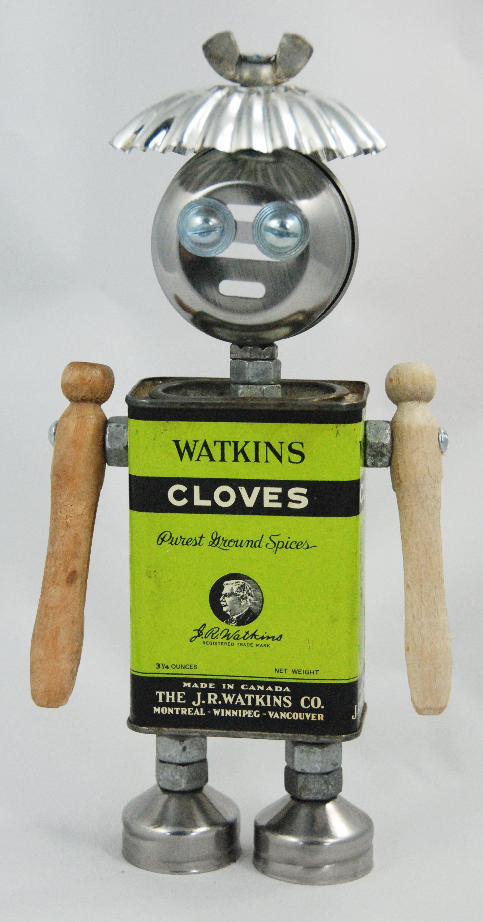 Clover Size 9 Inches Tall Medium Vintage Watkins Cloves Tin Vintage Sugar Lid Tartlet Tin Vintage Wooden Clothes Pins Vintage Salt And Pepper Lids Wing N