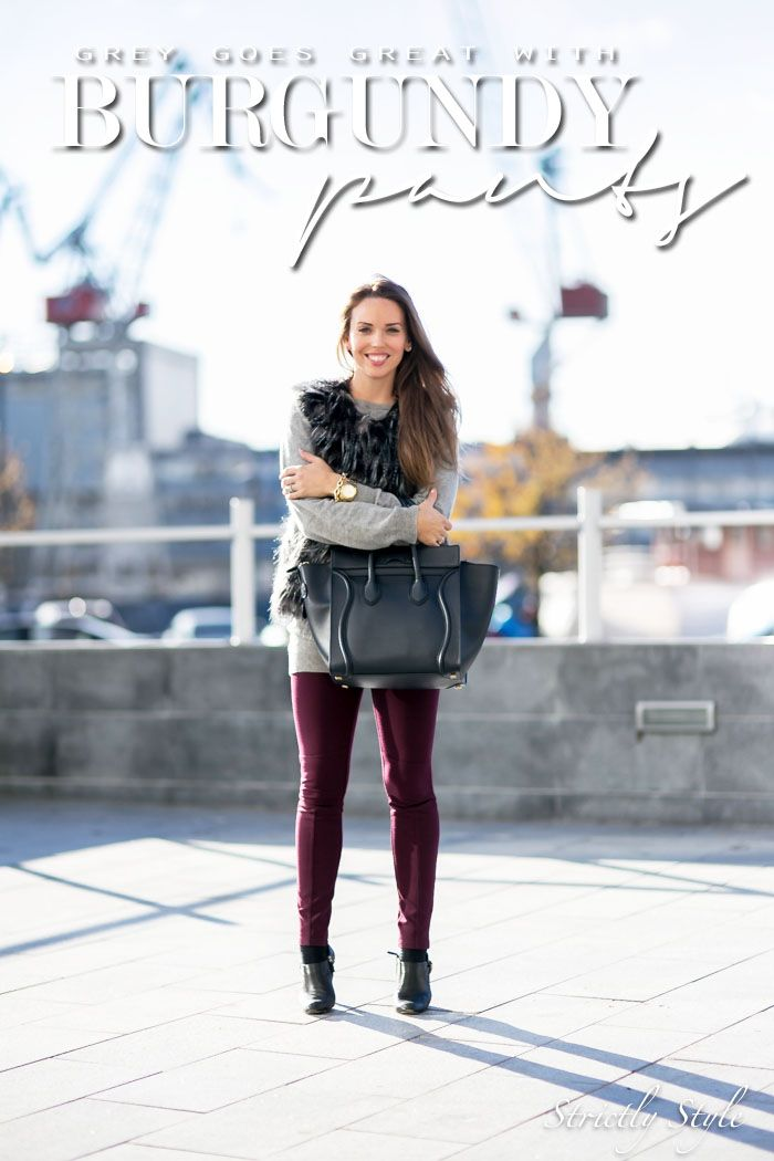 fall outfit faux fur vest grey jumper burgundy pants street style ootd