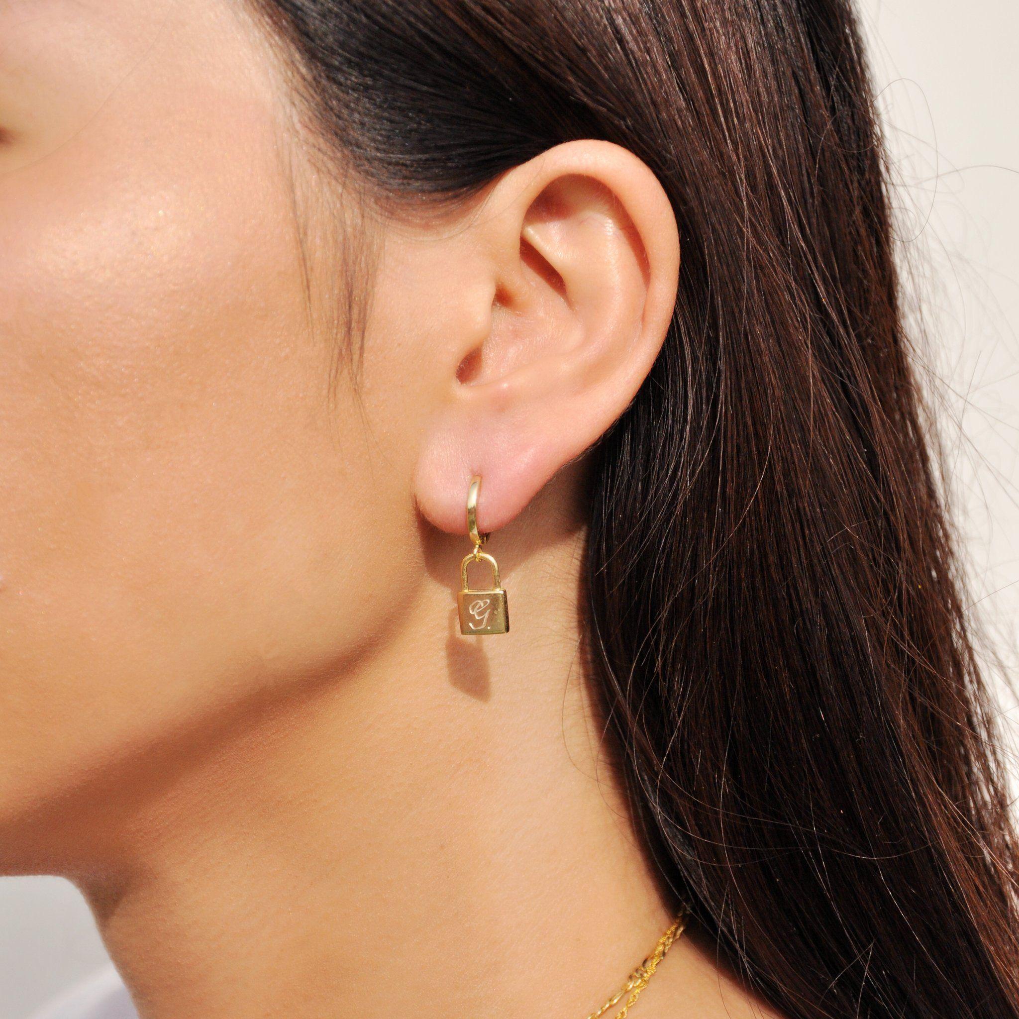 d88df573d PadLock Earrings. Engravable lock Huggies in Script Letter. #vthelabel  #sterlingsilver