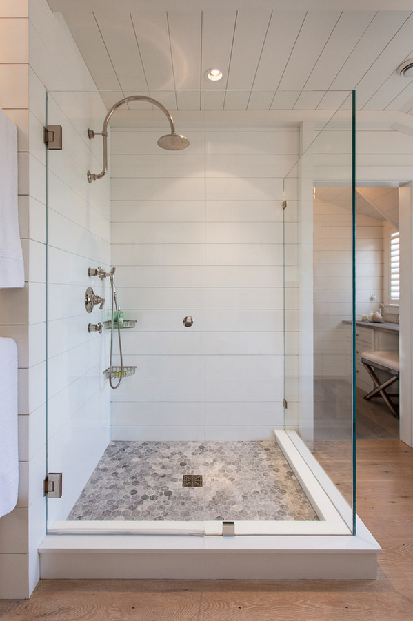 Corian Shower Wall Panels With Tile Look Bathroom Remodel Master Farmhouse Master Bathroom Bathrooms Remodel