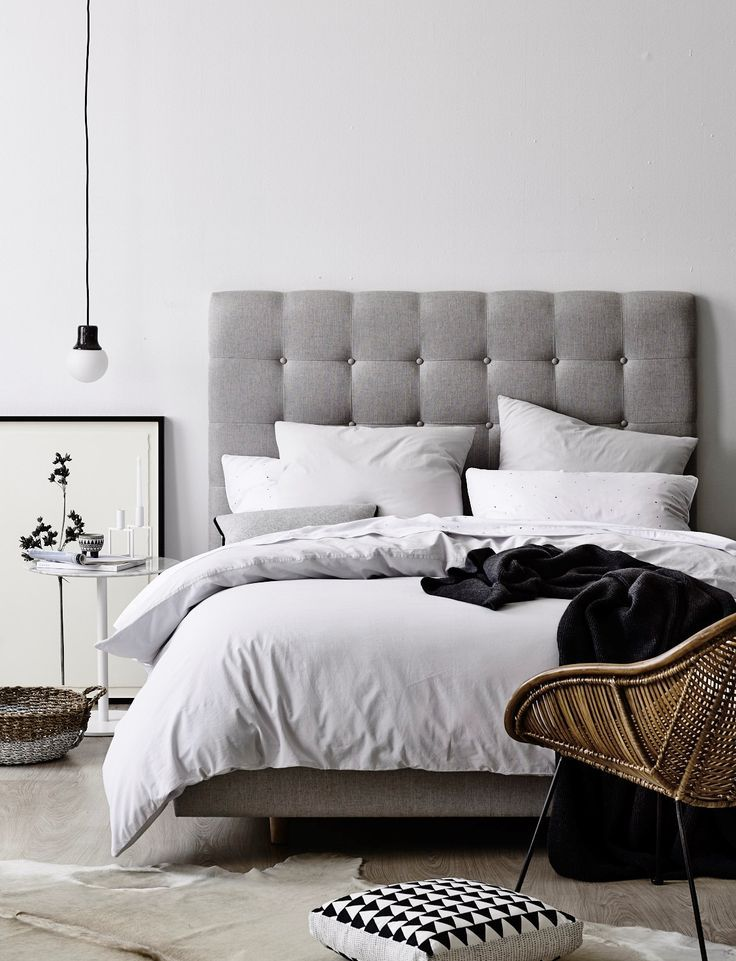 Best For A Minimal Look Go With A Grey Headboard And A Hanging 400 x 300