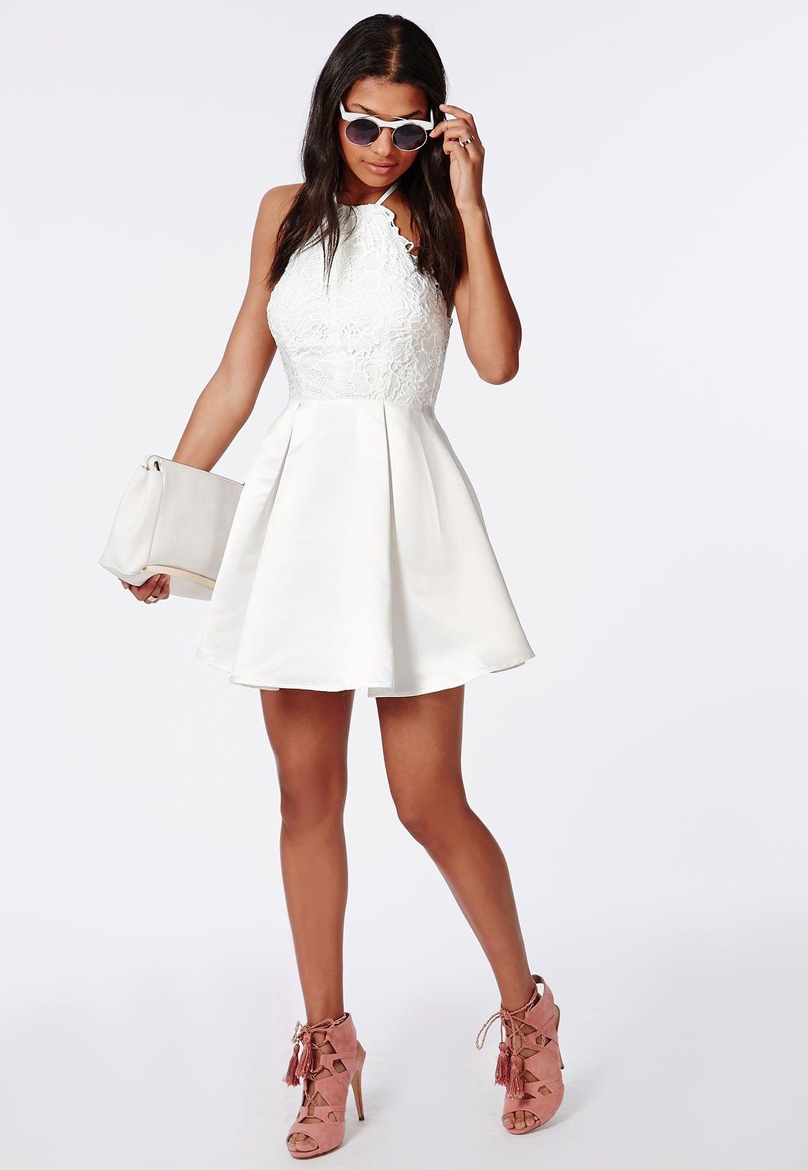 Lace Halterneck Skater Dress White - Dresses - Skater Dresses - Missguided   cb395ccb7