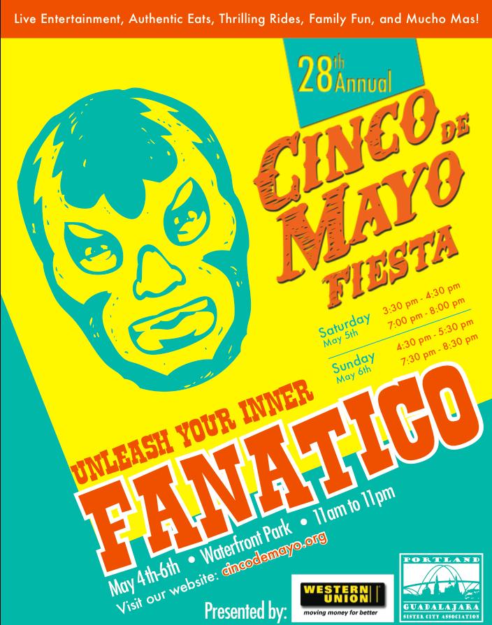 Cinco de Mayo Portland - Mexican Wrestlers Acrobatic Antics at Cinco de Mayo Festival