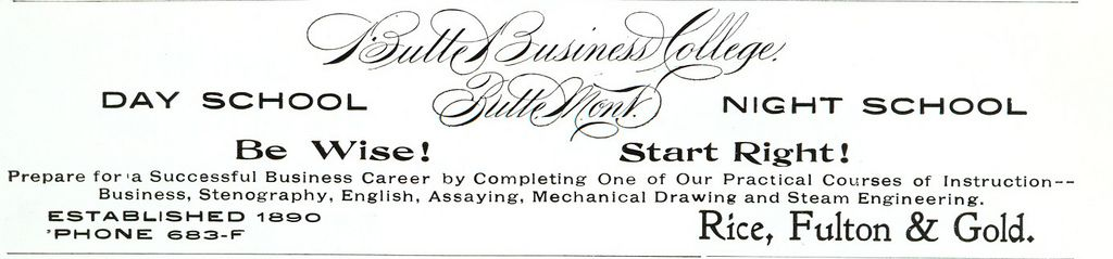 ad for Butte Business College, Butte, Montana from 1901; institution opened in 1890 and closed in 1975