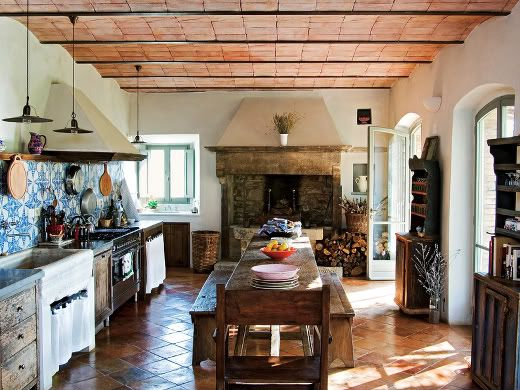 Tuscan kitchen-from the book Italian Rustic by Elizabeth Helman Minchilli