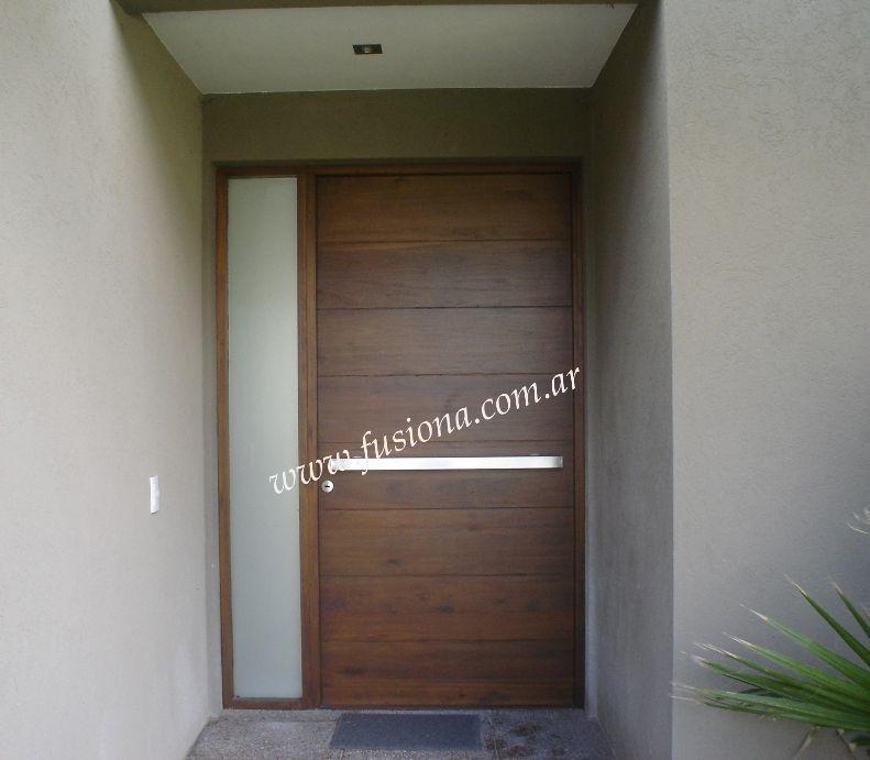M119 puerta de madera con pa o fijo vidriado ideas para for Puertas de entrada de madera modernas