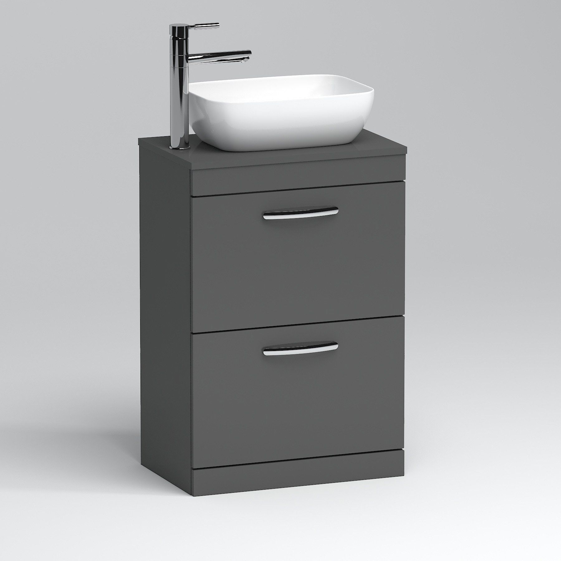 600mm Floor Standing Vanity Unit 2 Drawer Indigo Grey Gloss