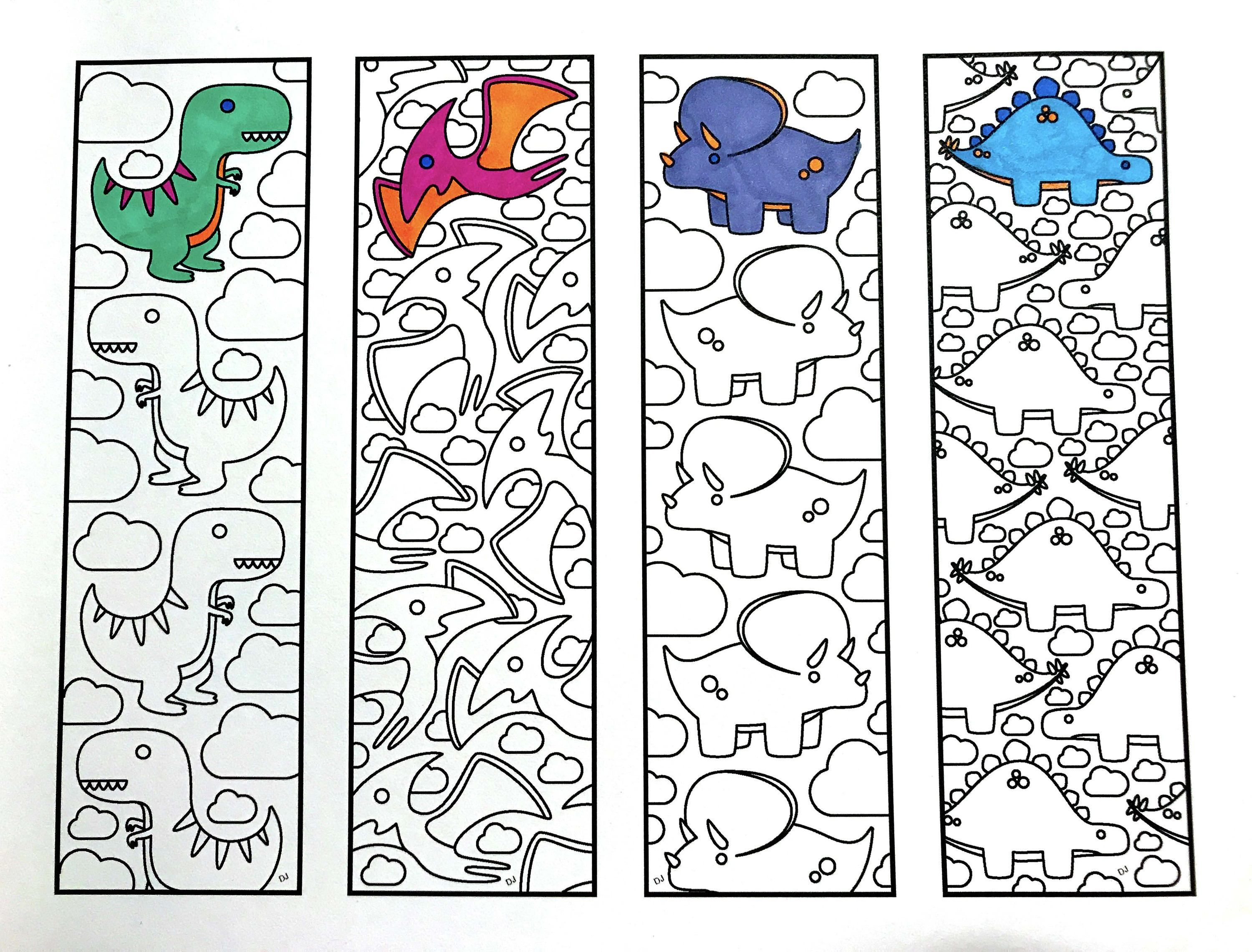 Cute Dinosaur Bookmarks PDF Zentangle Coloring Page