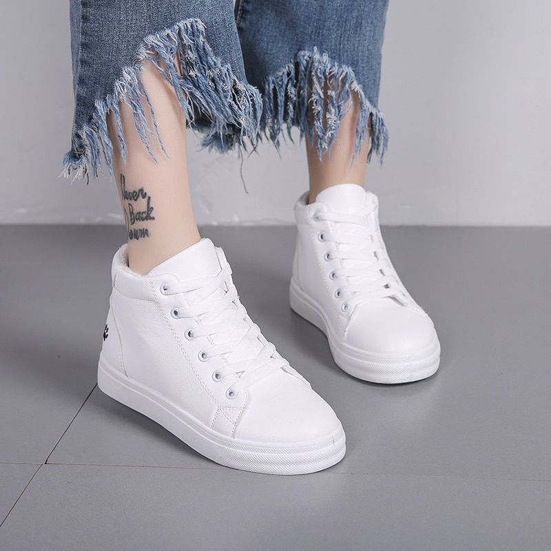 Women Sneakers Autumn 2018 Spring Fashion Women Casual Shoes White Flats  Breathable High Top Women Walking Flats Trainers Shoes fc4955291