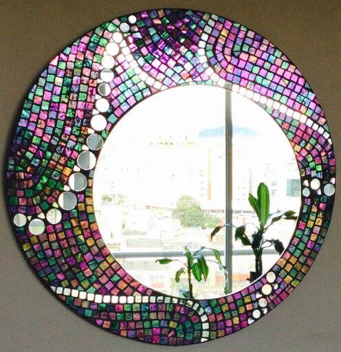 Espejo en vitromosaico espejos decorados pinterest for Espejos ovalados decorados