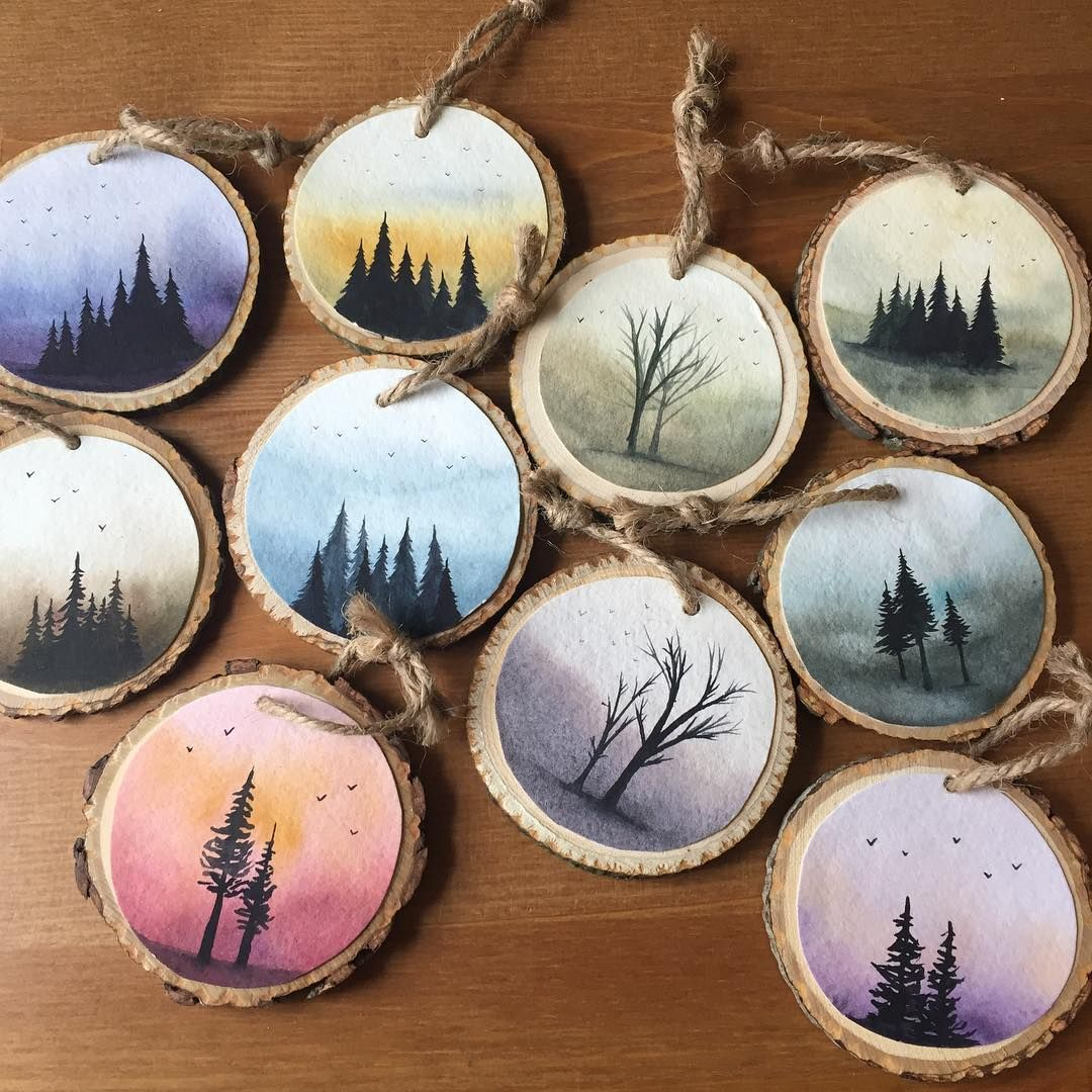 Mini Wood Slices Are Love So You May Have Seen In My Stories Yesterday That I Got S Big Pile Of Large Wood Sl Wood Slice Crafts Wood Slice Art Painting