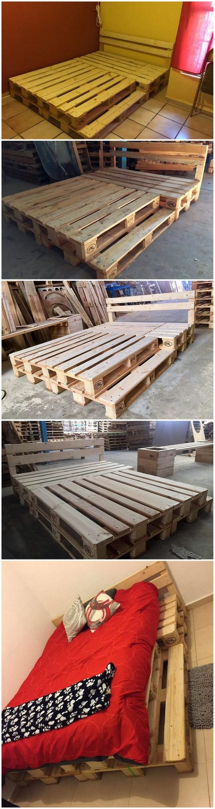 DIY Recycled Wood Pallet Bed Plan | Wood pallet beds ...