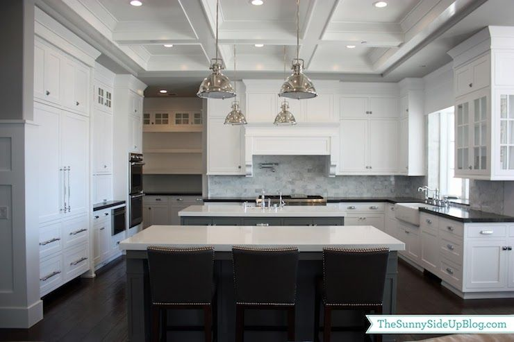 Contemporary White Shaker Kitchen benjamin moore - chelsea gray - shaker cabinets, white shaker