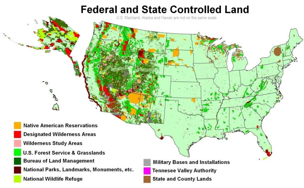 Map Of Federal Land map of federal land in the us gov land ...