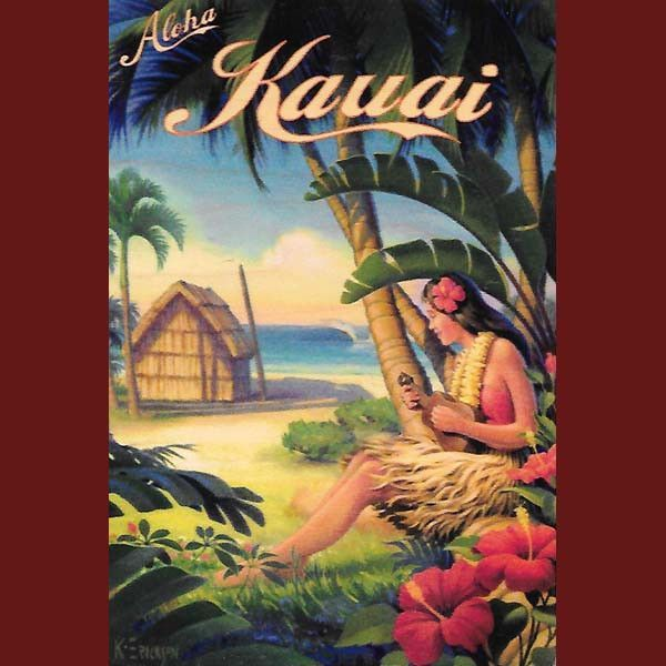 Wooden Kauai Postcard - Grass Hut and Ukulele Girl, by Hawaiian Woody's