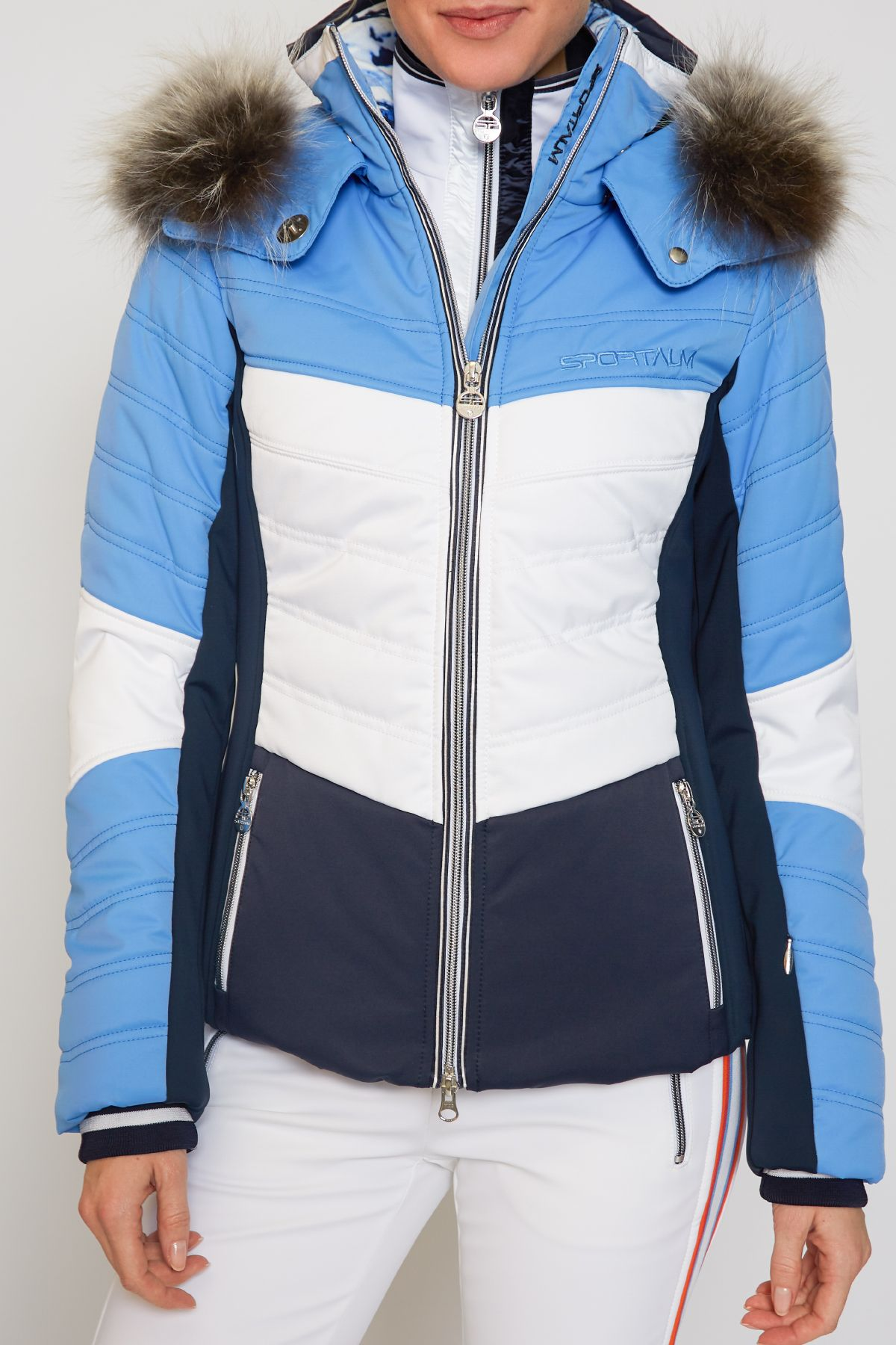 7232cd5bfb Sportalm Women Gazon Jacket with and Hood and Fur - Sky Blue Ski Outfits