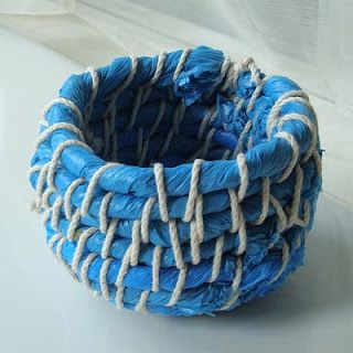 coil basket made from plastic bags