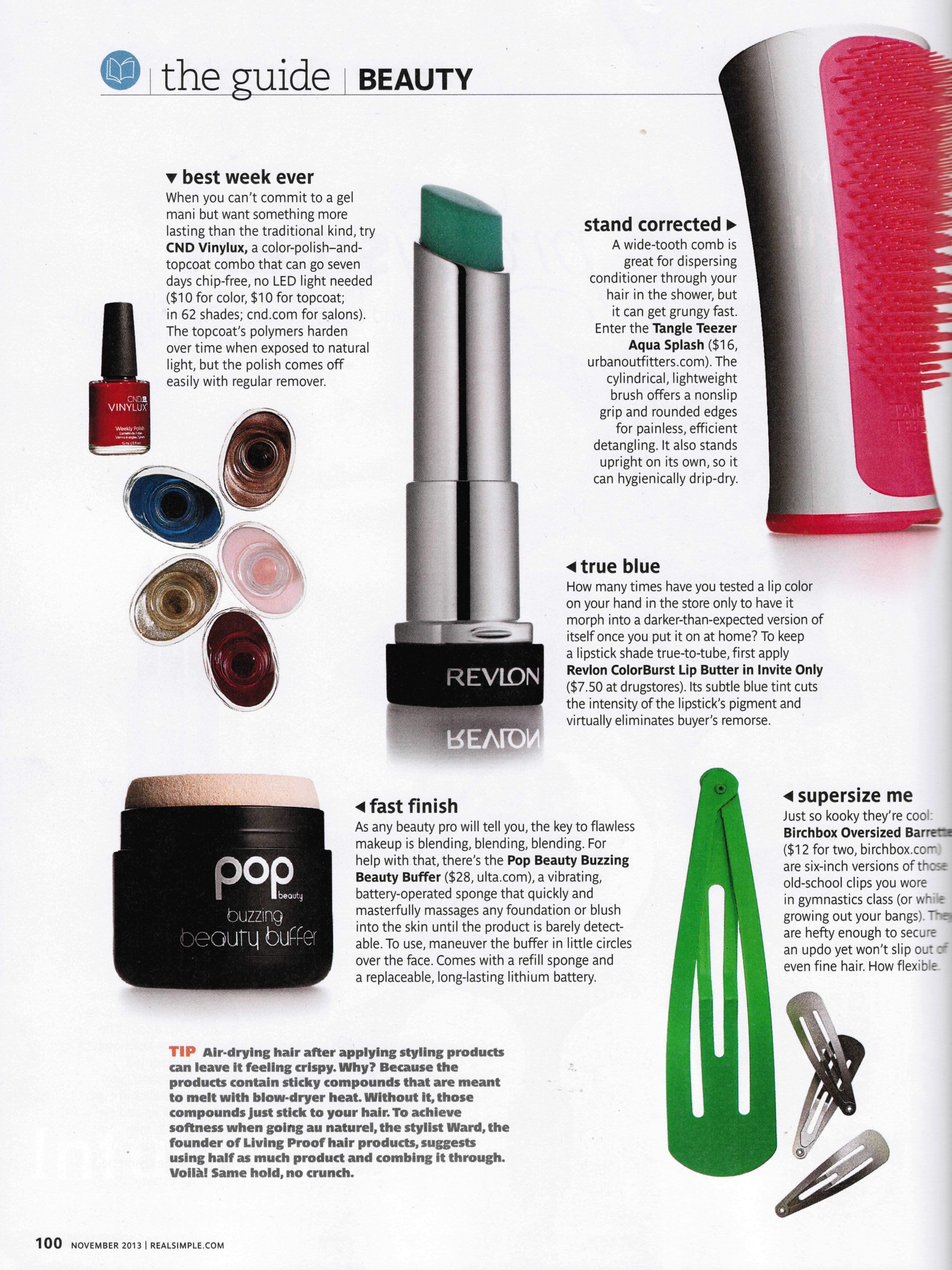 Buzzing beauty buffer in real simple magazine