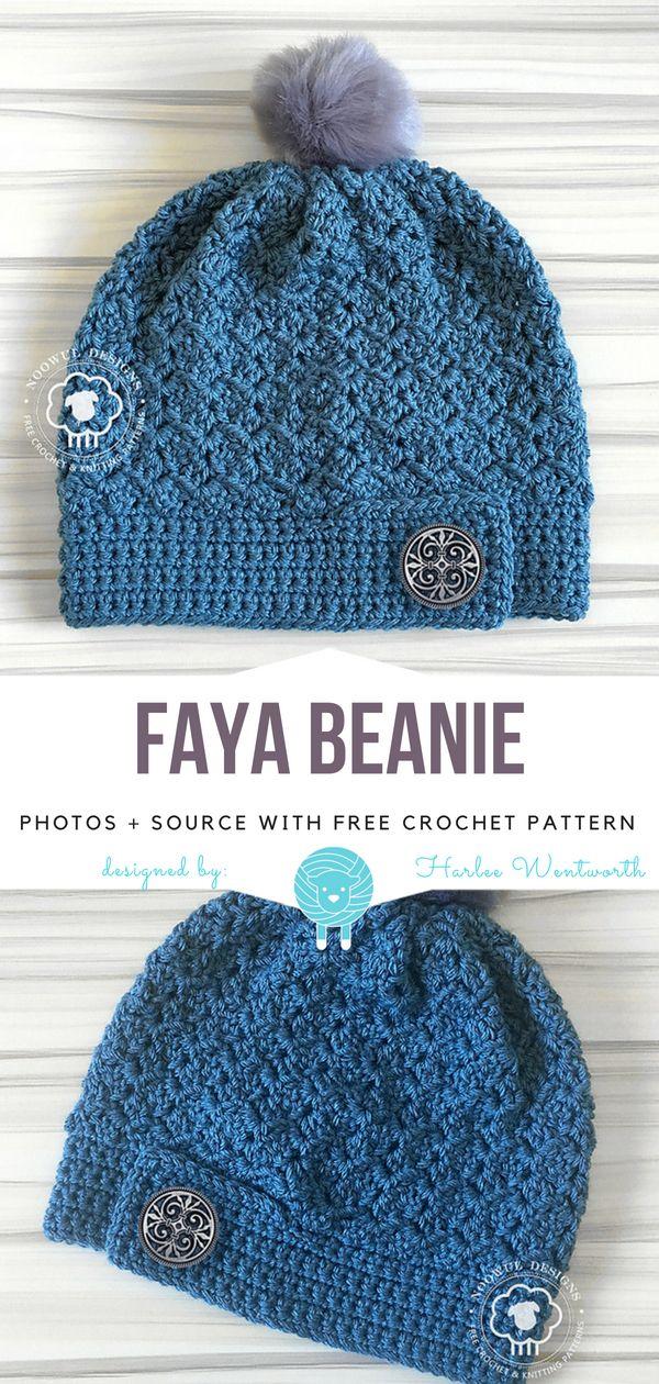 Faya Beanie Free Crochet Pattern   Wool Pattern   Crochet Scarves ...