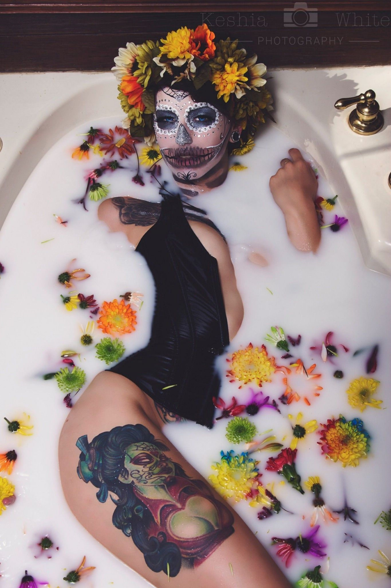 Milk Bath Photography | Day of the Dead #fallmilkbath Milk Bath Photography | Day of the Dead #fallmilkbath