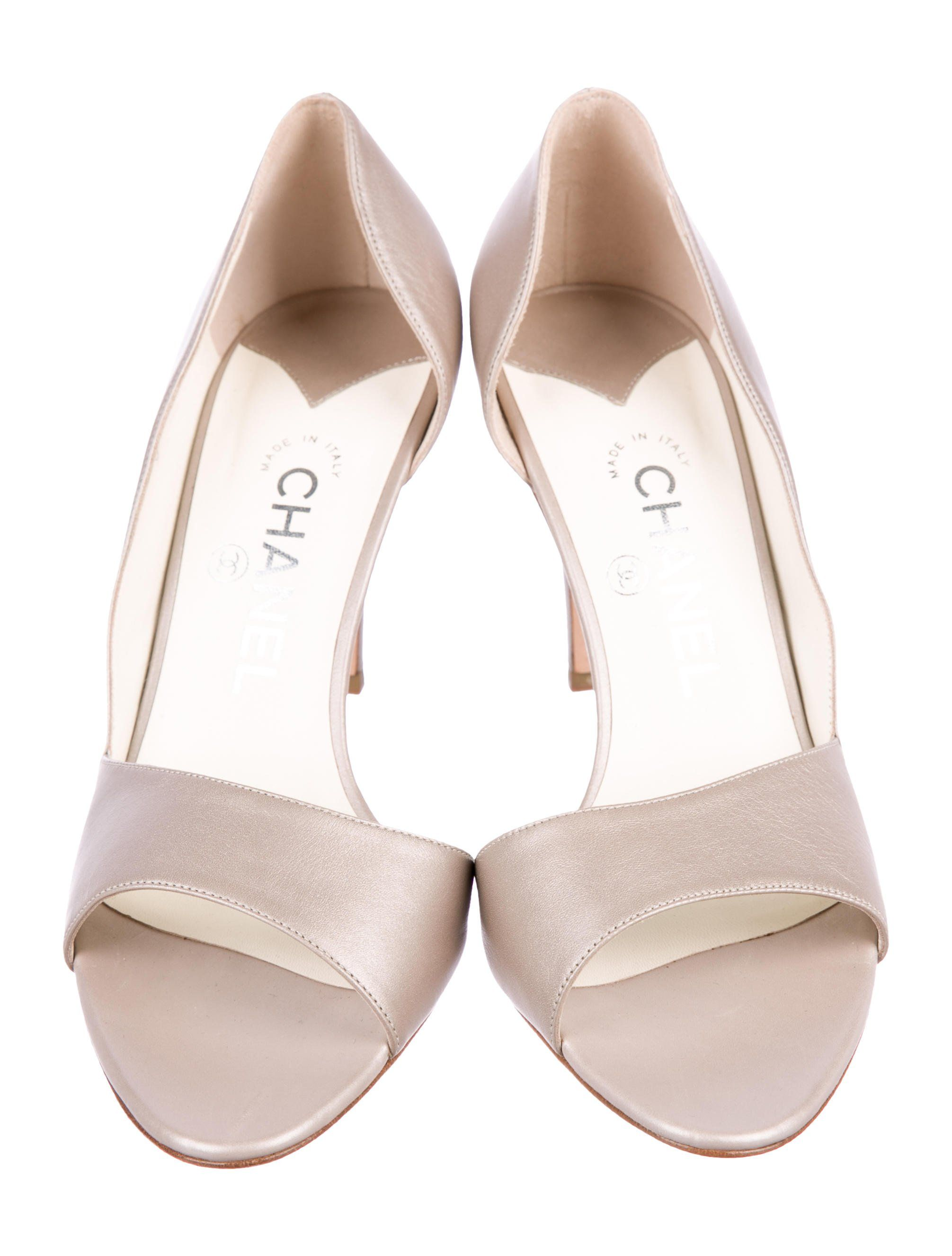 0f5da5aec01f Taupe metallic leather Chanel d Orsay pumps with tonal stitching ...